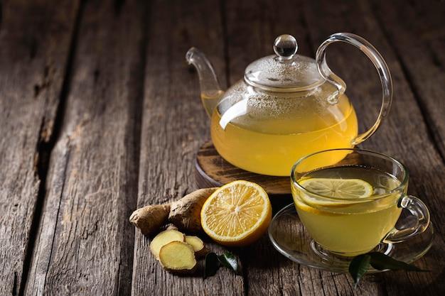 Концепция вкусного и здорового чая с лимоном