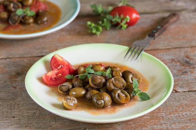 Delicious apulian snails called munaceddi with tomato sauce, oregano on a wooden table