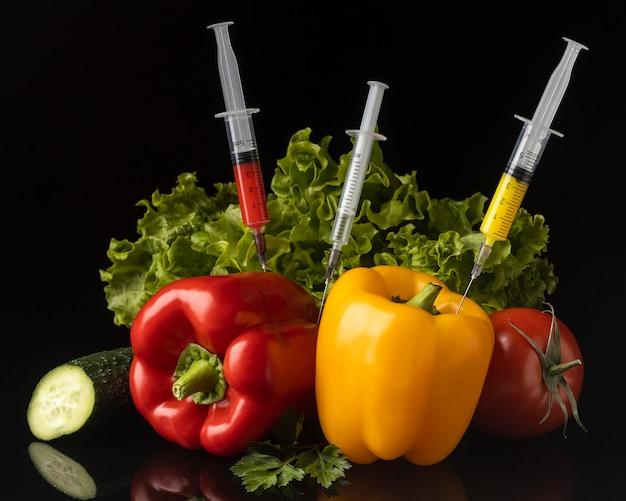 Deliziosa disposizione di alimenti modificati ogm