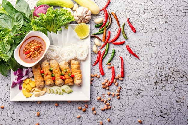 Delicious asian food, vietnamese food meatball wraps