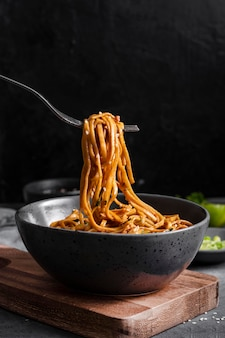 Delicious asian noodles concept