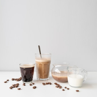 Delicious assortment of glasses with coffee