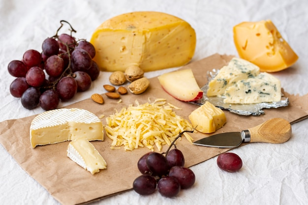 Delicious assortment of snacks and cheese