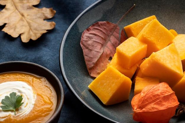 Delicious autumn food slices of pumpkin
