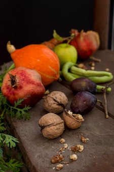 Delicious autumn fruits and vegetables