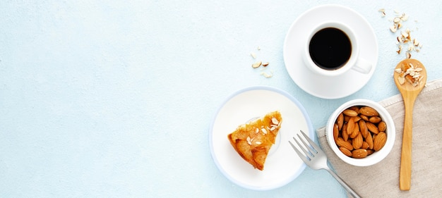 Delicious autumn pie and coffee copy space