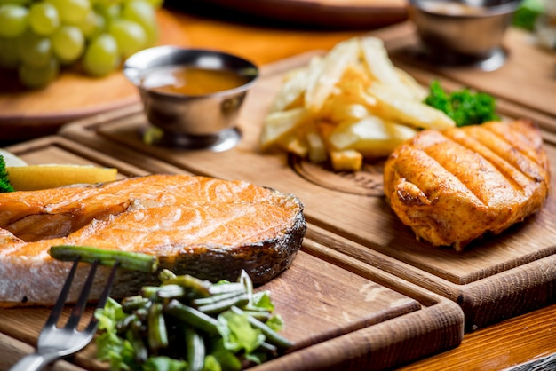Delicious and beautiful food on a wooden board