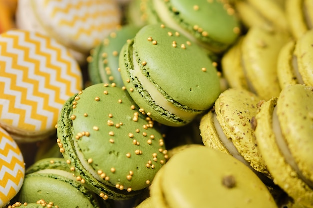 Delicious and beautiful macaroons on sale.