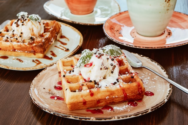 Delicious belgium waffles in rustic setting
