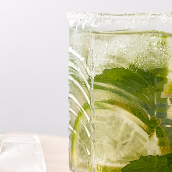 Delicious beverage with lime and mint