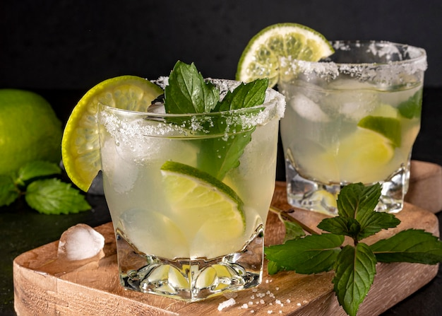 Delicious beverage with mint leaves