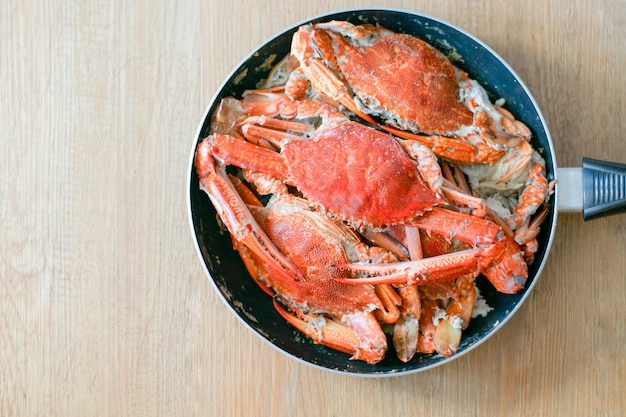 Delicious big crab seafood on the pan