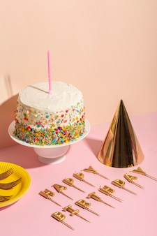 Delicious birthday cake and candles