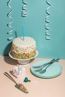 Delicious birthday cake high angle