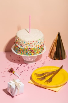 Delicious birthday cake with candle