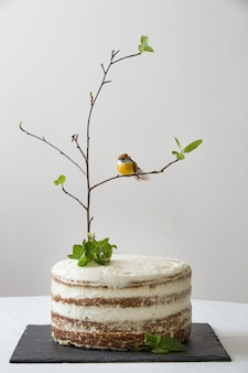 Delicious birthday cake with a tree branch and a bird as decoration on a white table holiday concept