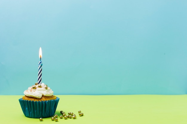 Delicious birthday cupcake with copy space