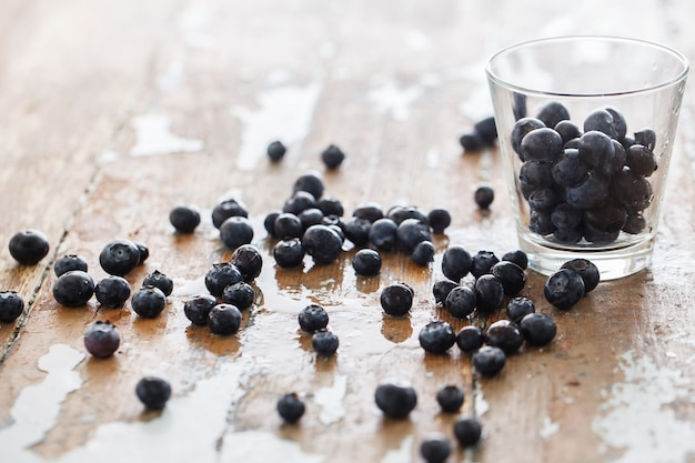 Delicious blueberries on the table