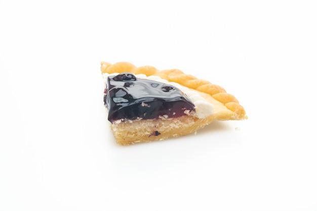 白い背景で隔離のおいしいブルーベリーチーズパイ