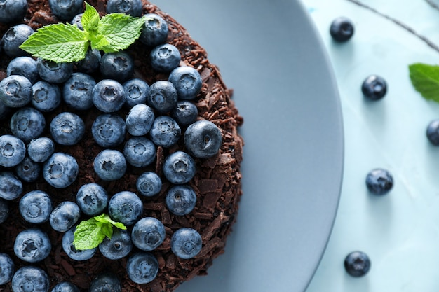 Delicious blueberry chocolate cake on plate, closeup
