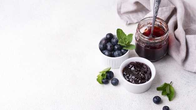 Delicious blueberry jam with copy-space