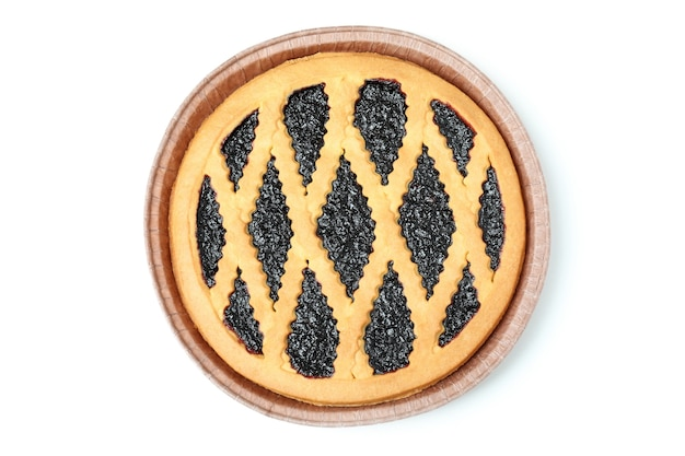Вкусный черничный пирог, изолированные на белом фоне