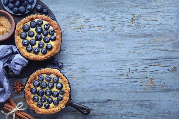 Delicious blueberry tartlets with vanilla custard cream on on bl