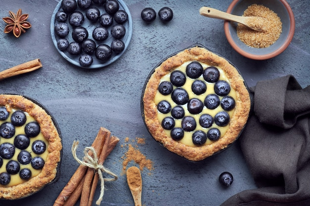 Delicious blueberry tartlets with vanilla custard cream on grey