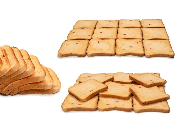 Delicious bread slices isolated on a white background, top view.