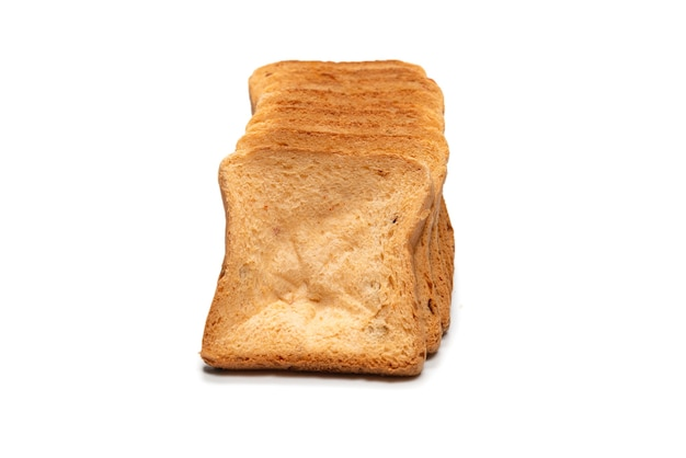 Delicious bread slices isolated on a white surface