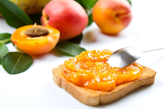 Delicious bread with apricot jam