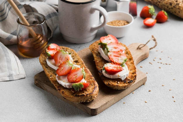 Delicious bread with strawberry and honey