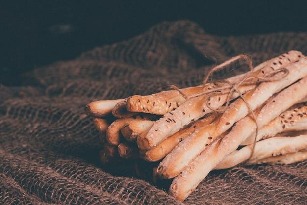 Delicious breadsticks grissini. italian appetizers