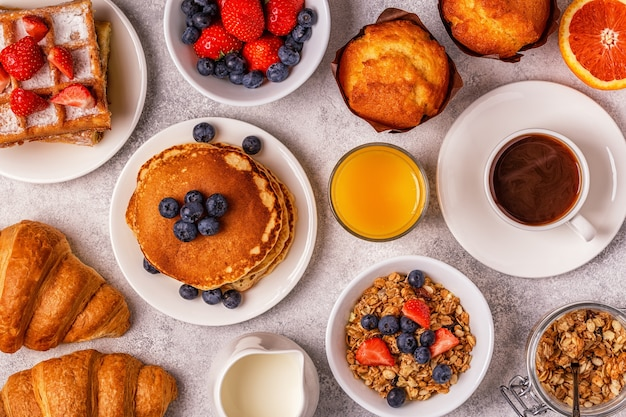 Delicious breakfast on a light table