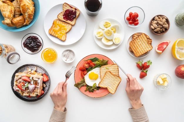 Delicious breakfast meal assortment