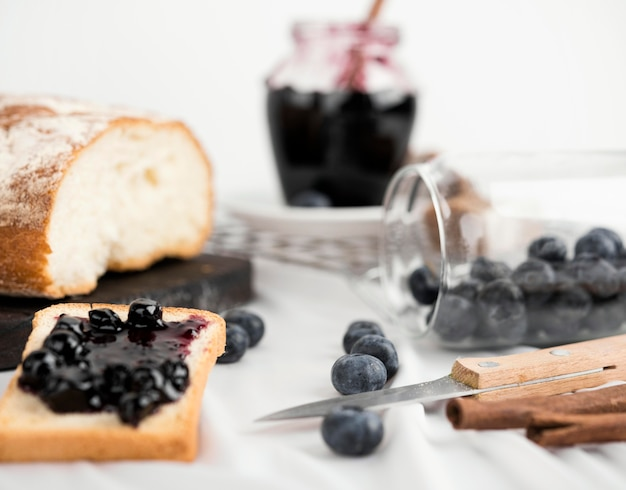 Delicious breakfast with blueberry jam