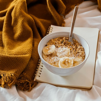 Delicious breakfast with cereals and banana