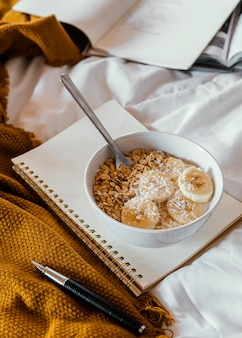 Delicious breakfast with cereals high angle