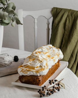 Delicious bun with whipped cream