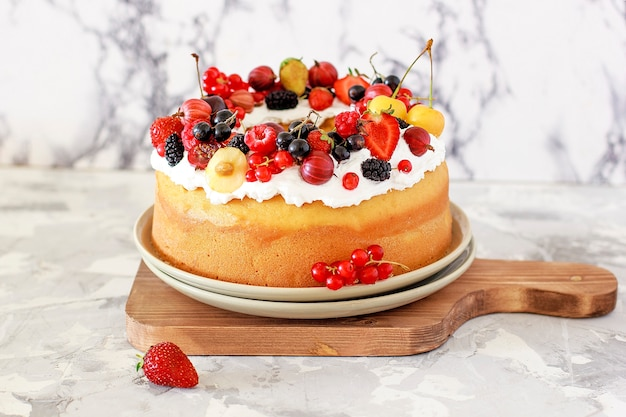 Delicious bundt cake with berries close-up