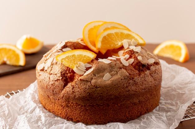 Delicious bundt cake with oranges arrangement