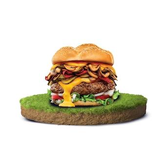 Вкусный бургер лежит на траве 3d рендера