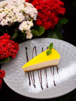 Delicious cake for desert in restaurant on a wooden table tasty food with coffee in cafe menu