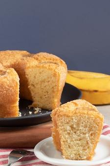 バナナのおいしいケーキ、セレクティブフォーカス。