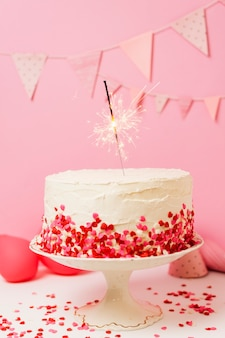 Delicious cake on table for birthday party Premium Photo