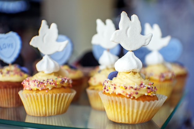 Delicious cakes. birdie. the concept of food, party and wedding.