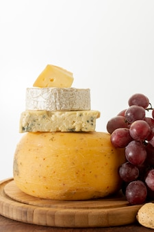 Delicious cheese with fresh grapes