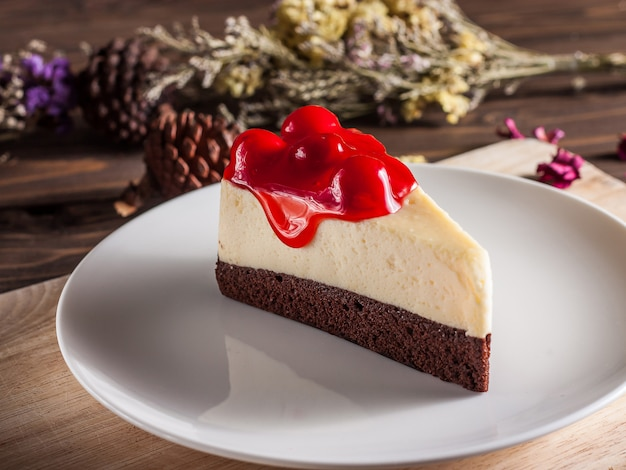 おいしいチェリーブラウニーチーズケーキ