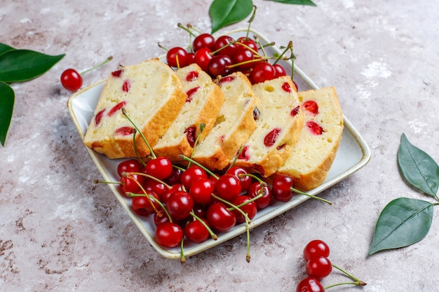 Delicious cherry cake with fresh cherries,top view