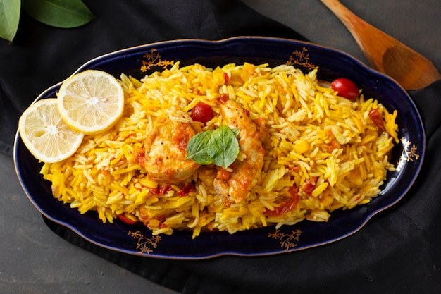 Delicious chicken with rice cooked in indian style
